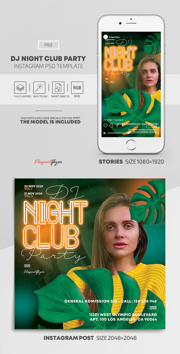 Dj Night Club Party – Free Instagram Stories Template in PSD + Post Templates