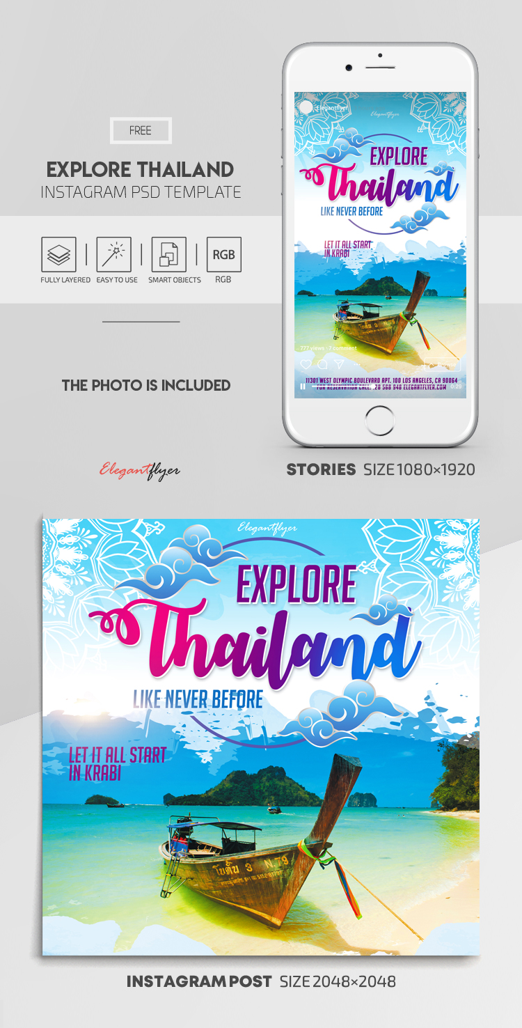 Explore Thailand. Like Never Before. Let it All Start in Krabi – Free Instagram Stories Template in PSD + Post Templates