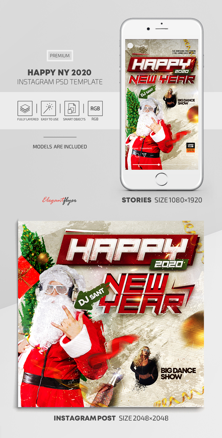 Happy New Year 2020 – Instagram Stories Template in PSD + Post Templates