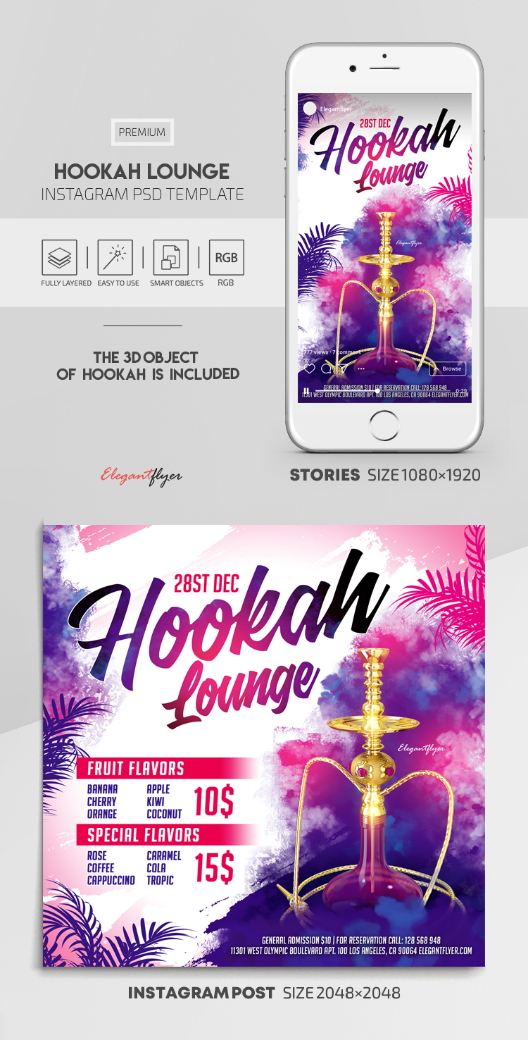 Hookah Lounge – Instagram Stories Template in PSD + Post Templates