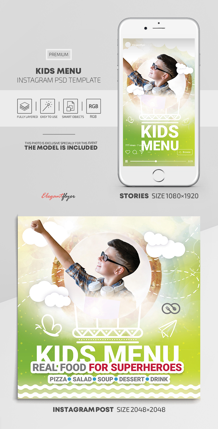 Kids Menu – Delicious Healthy Meals for Kids – Instagram Stories Template in PSD + Post Templates