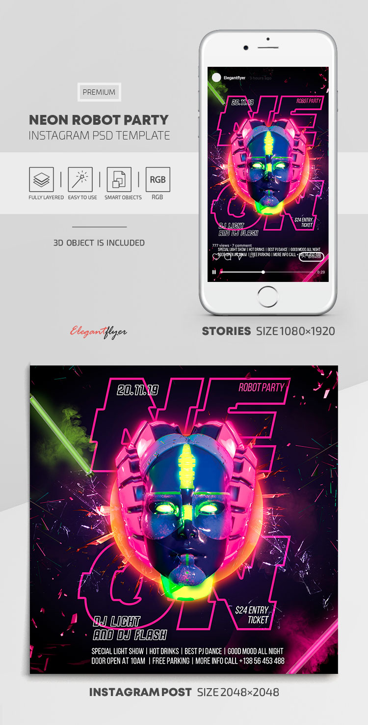 Neon Robot Party – Instagram Stories Template in PSD + Post Templates