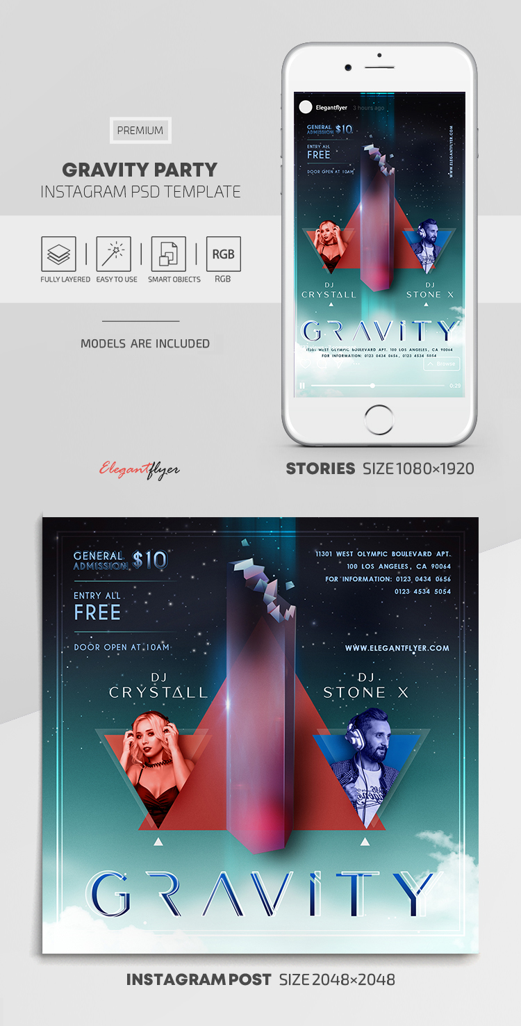 Gravity Party – Instagram Stories Template in PSD + Post Templates