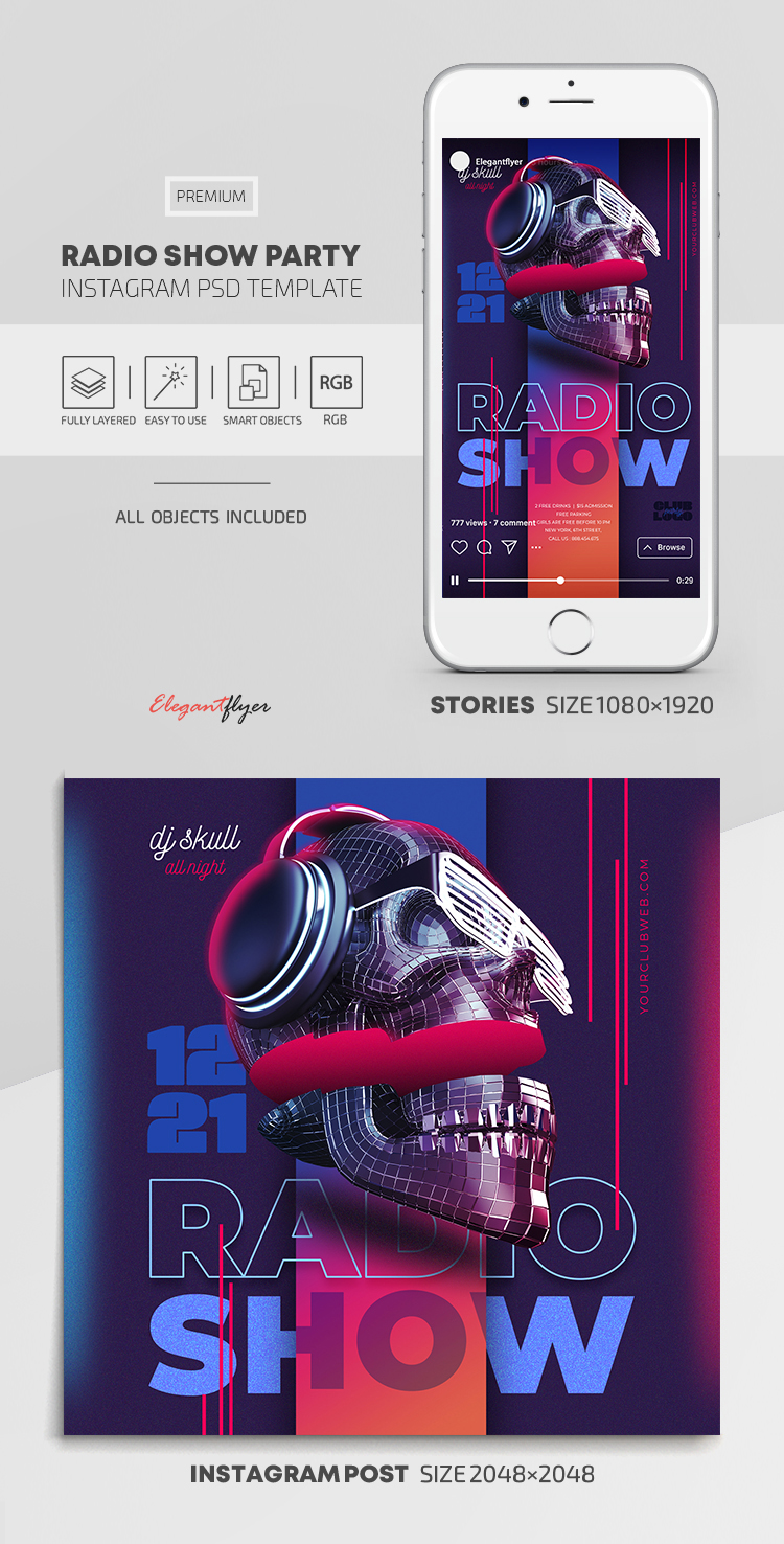 Radio Show Party – Instagram Stories Template in PSD + Post Templates