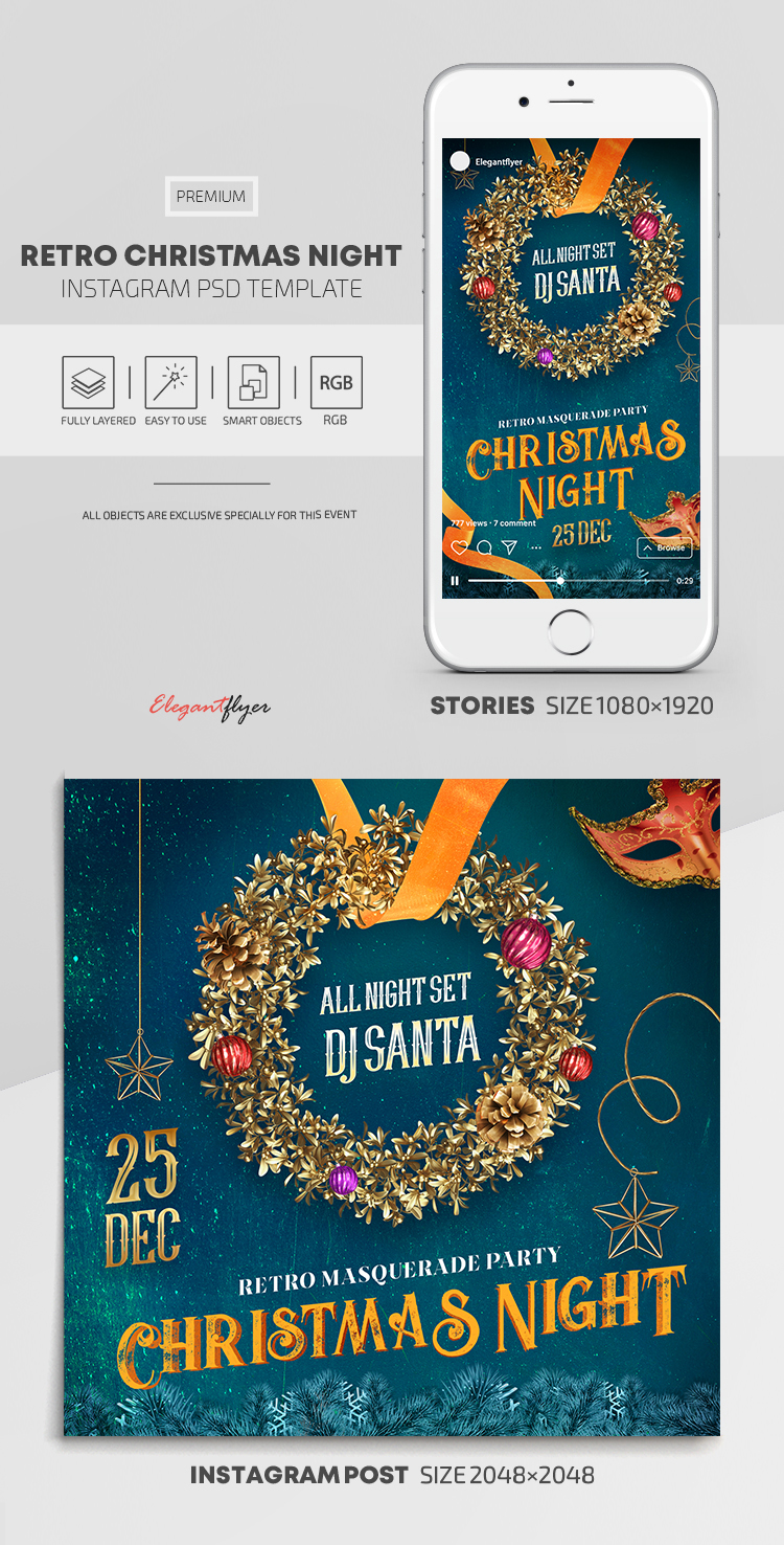 Retro Christmas Night – Instagram Stories Template in PSD + Post Templates