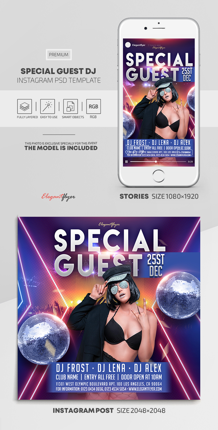 Special Guest DJ – Instagram Stories Template in PSD + Post Templates