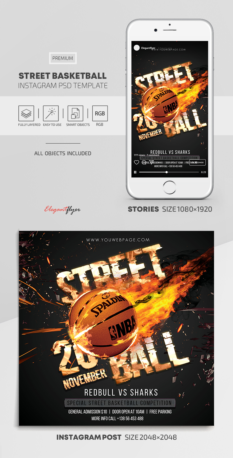 Street Basketball – Instagram Stories Template in PSD + Post Templates