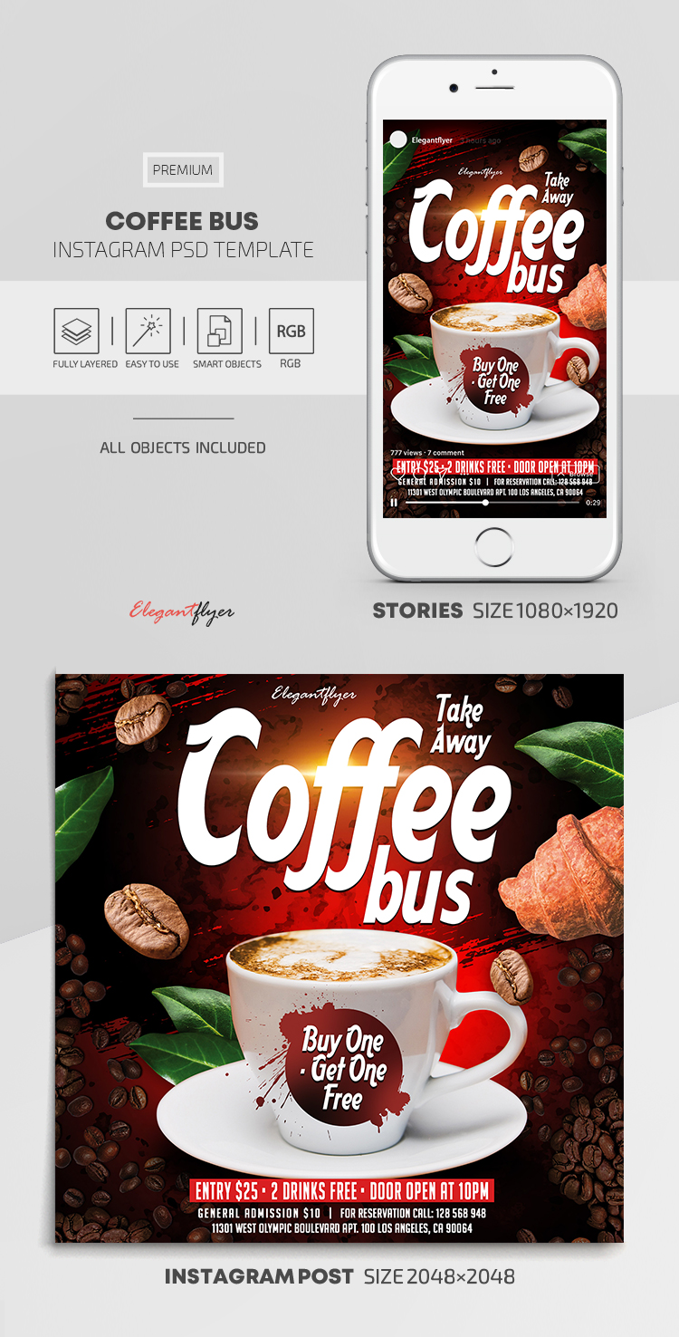 Take Away. Coffee Bus. Buy One – Get One Free – Instagram Stories Template in PSD + Post Templates