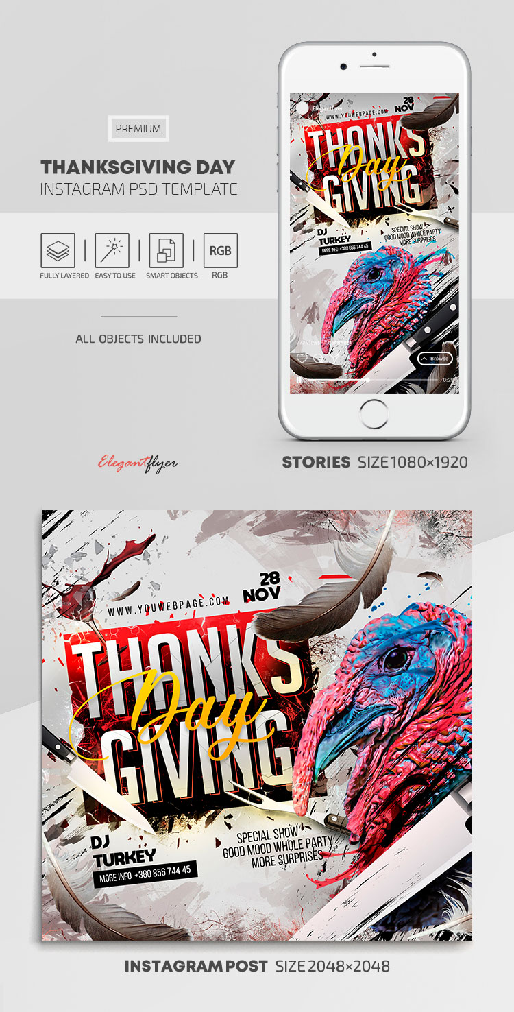 Thanksgiving Day – Instagram Stories Template in PSD + Post Templates