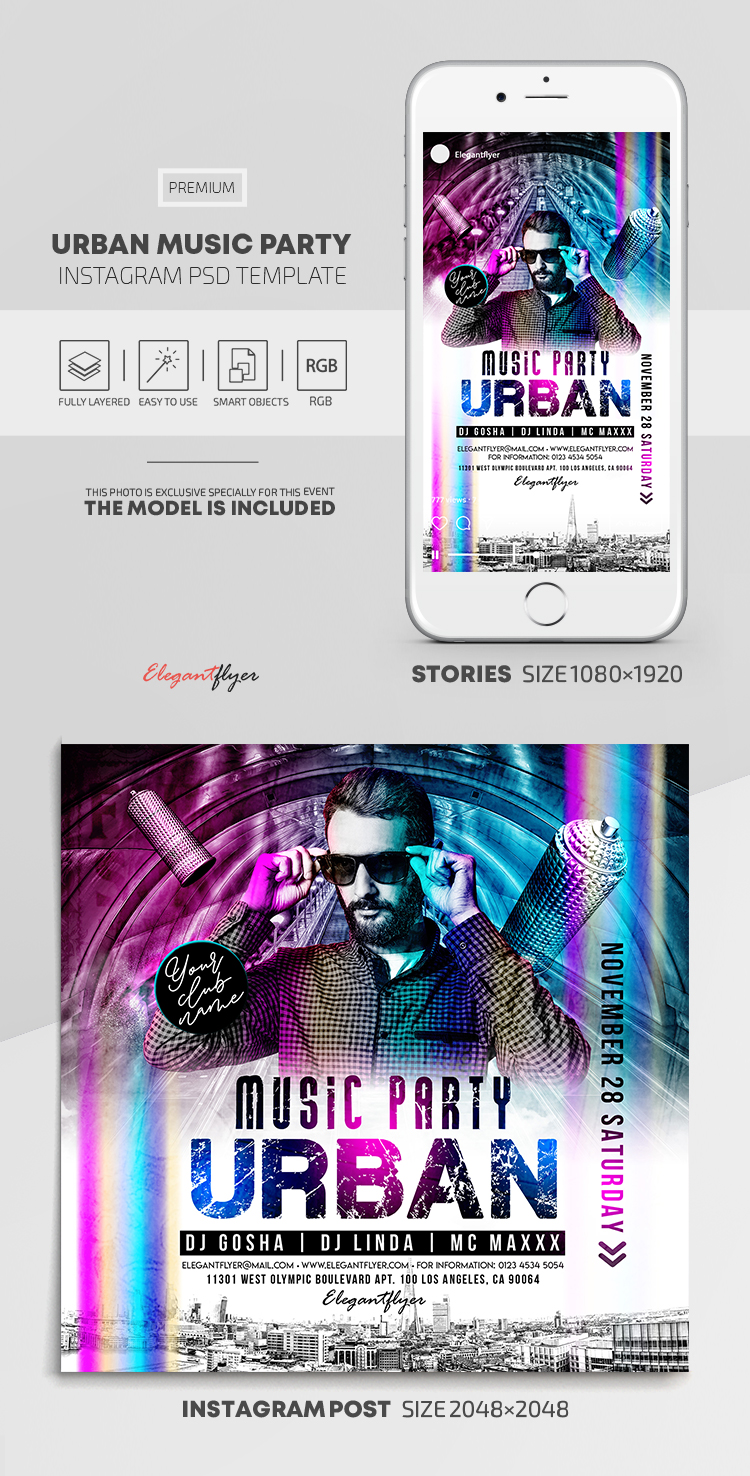 Urban Music Party – Instagram Stories Template in PSD + Post Templates