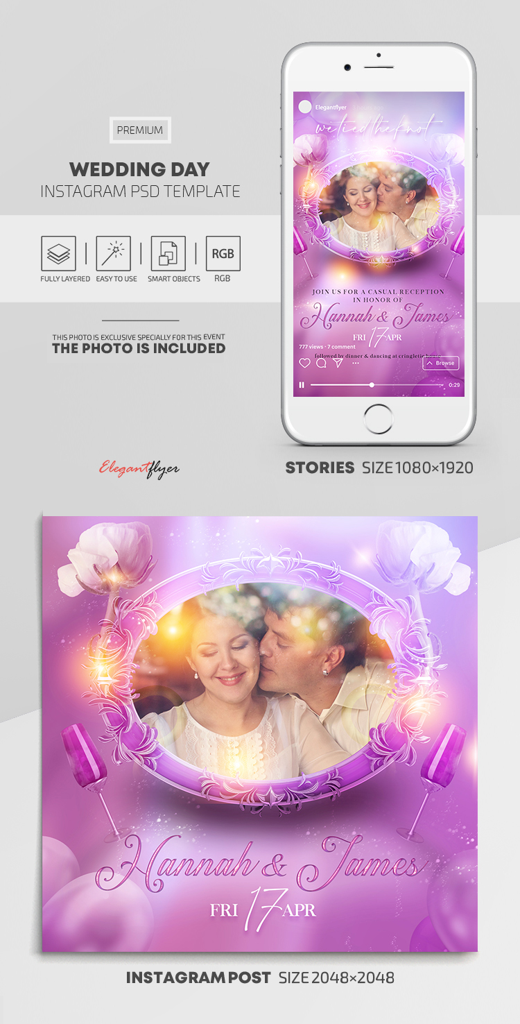 Wedding Day – Instagram Stories Template in PSD + Post Templates