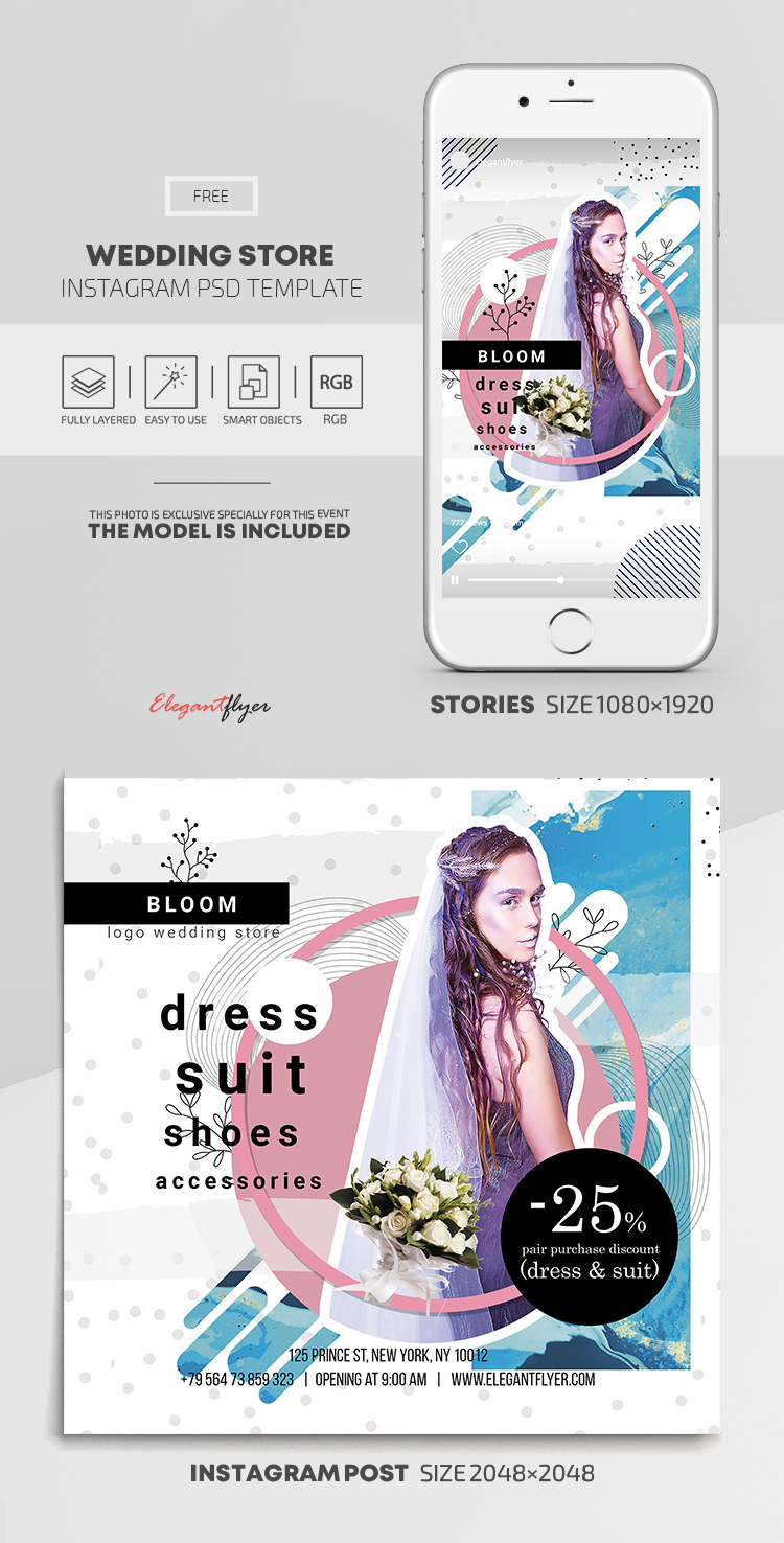 Wedding Store – Instagram Stories Template in FREE PSD + Post Templates