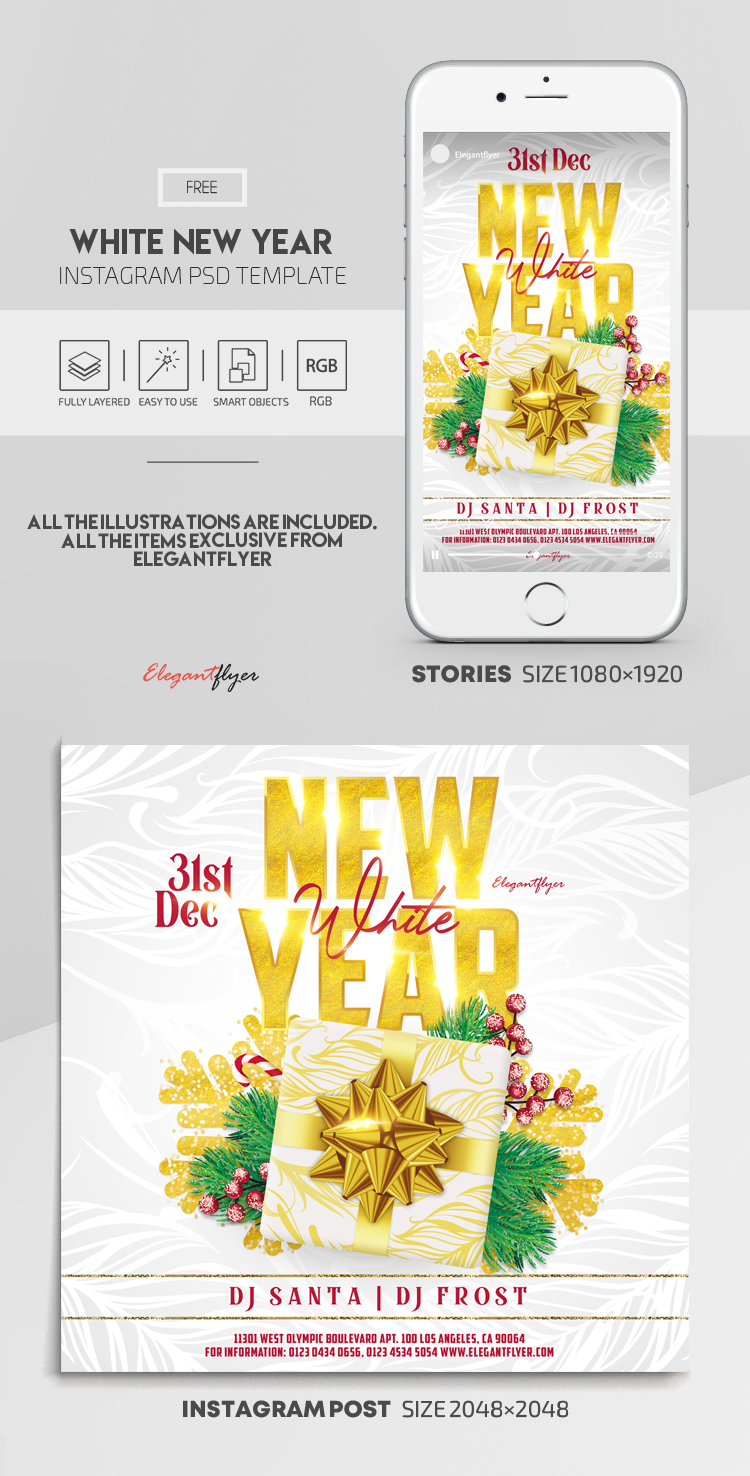 White New Year Party – Free Instagram Stories Template in PSD + Post Templates
