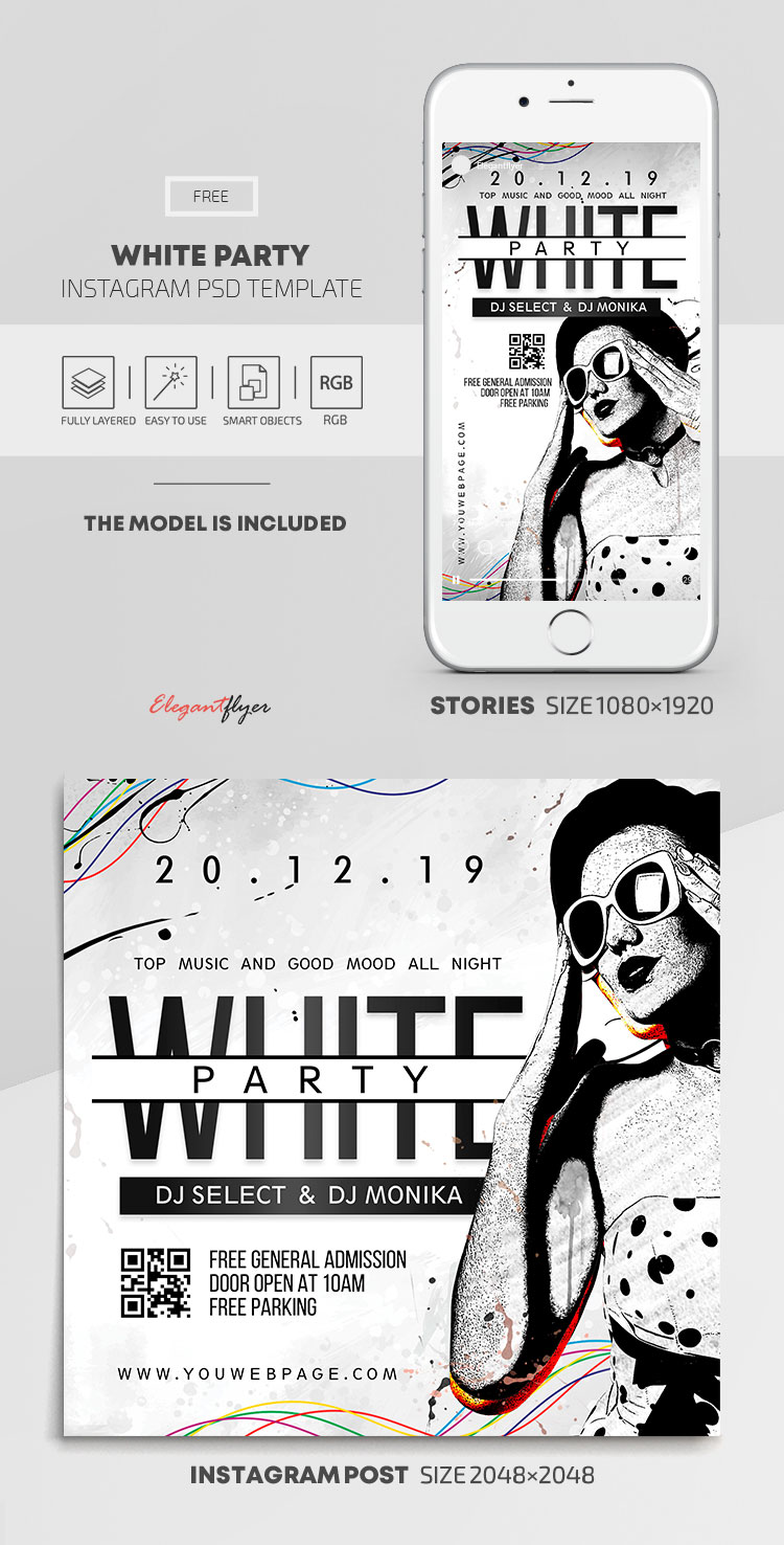 White Party – Free Instagram Stories Template in PSD + Post Templates
