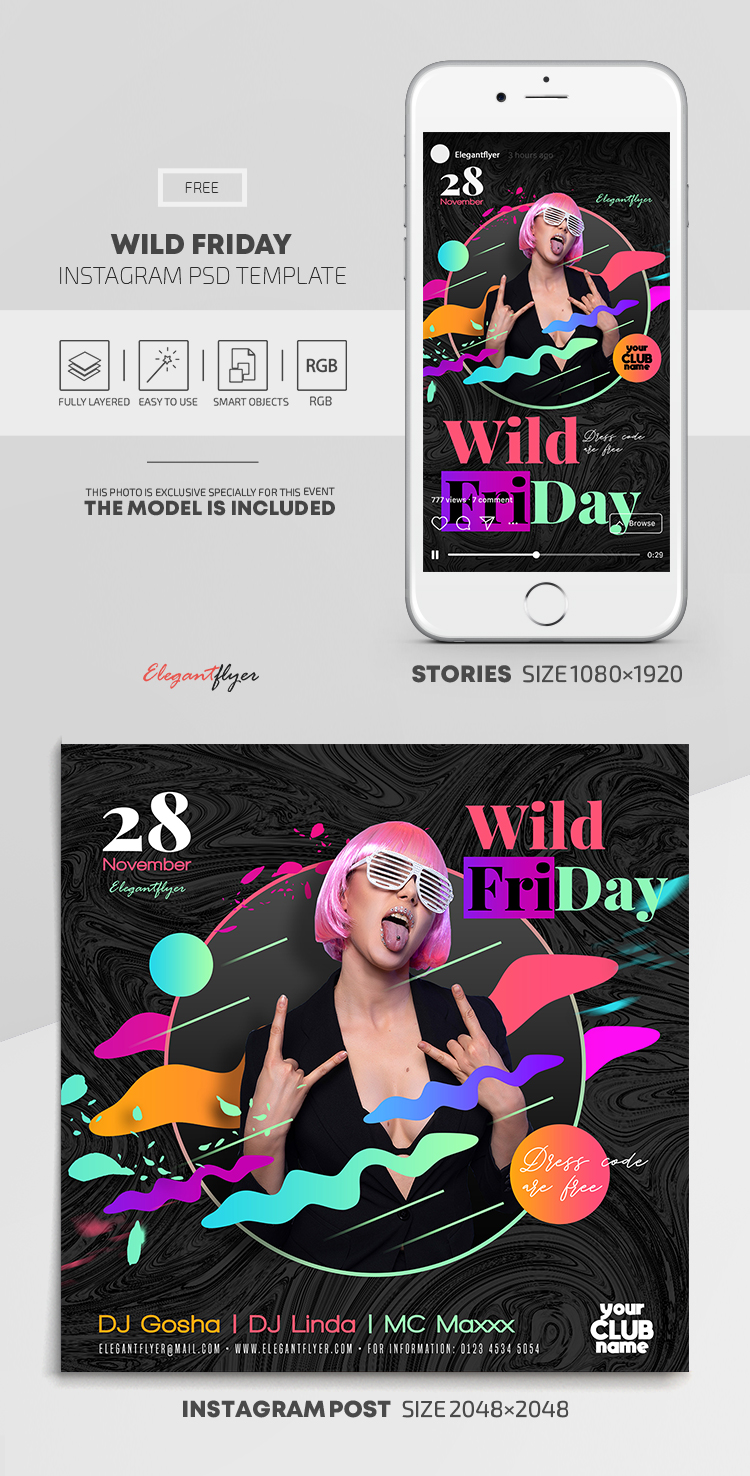 Wild Friday – Free Instagram Stories Template in PSD + Post Templates