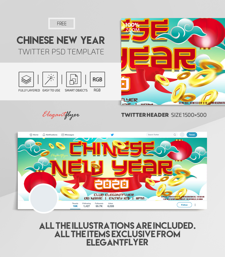Chinese New Year 2020 Free Twitter Header Psd Template