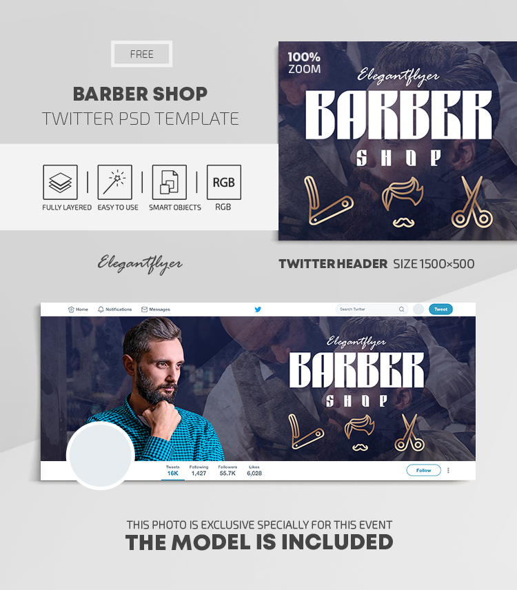 Barber Shop – Free Twitter Header PSD Template