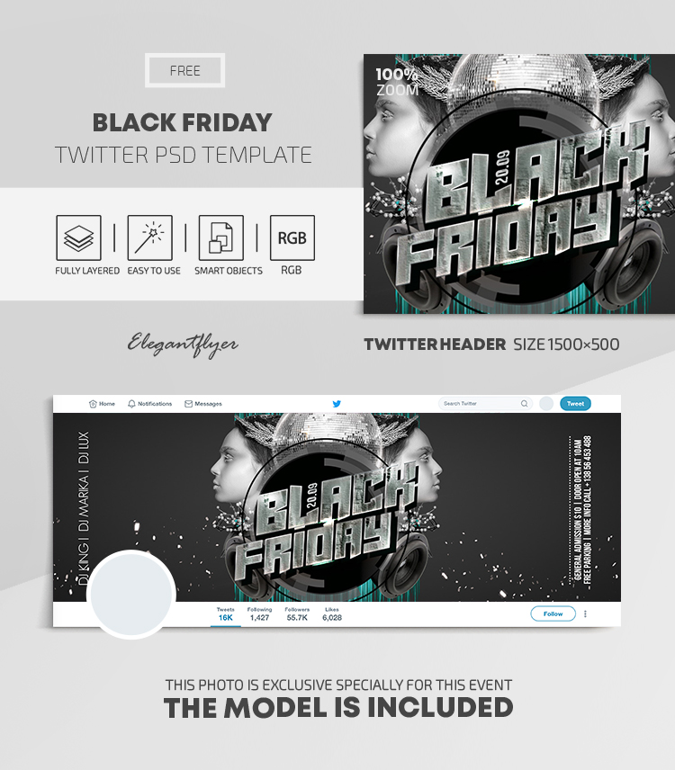 Black Friday – Free Twitter Header PSD Template