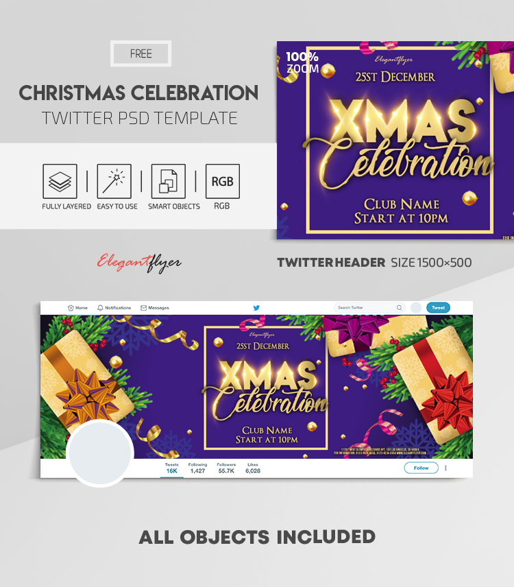 Christmas Celebration – Free Twitter Header PSD Template