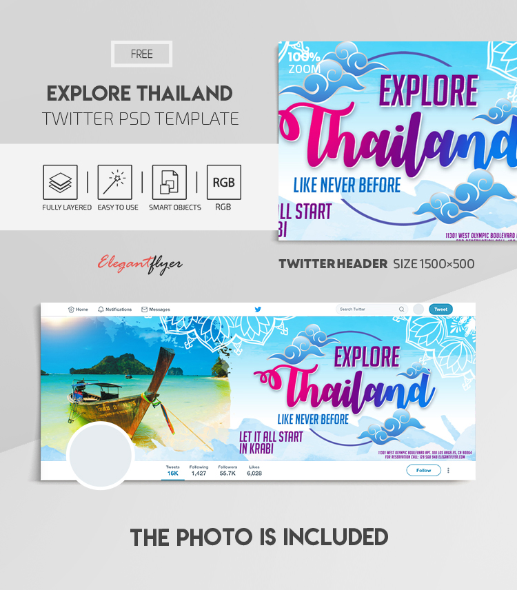 Explore Thailand. Like Never Before. Let it All Start in Krabi – Free Twitter Header PSD Template