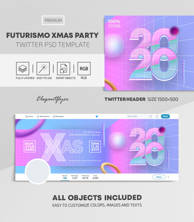 Futurismo Christmas Party – Twitter Header PSD Template