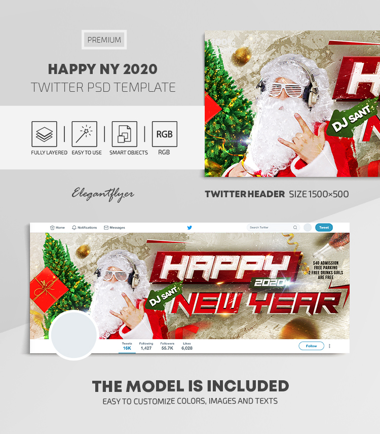 Happy New Year 2020 – Twitter Header PSD Template