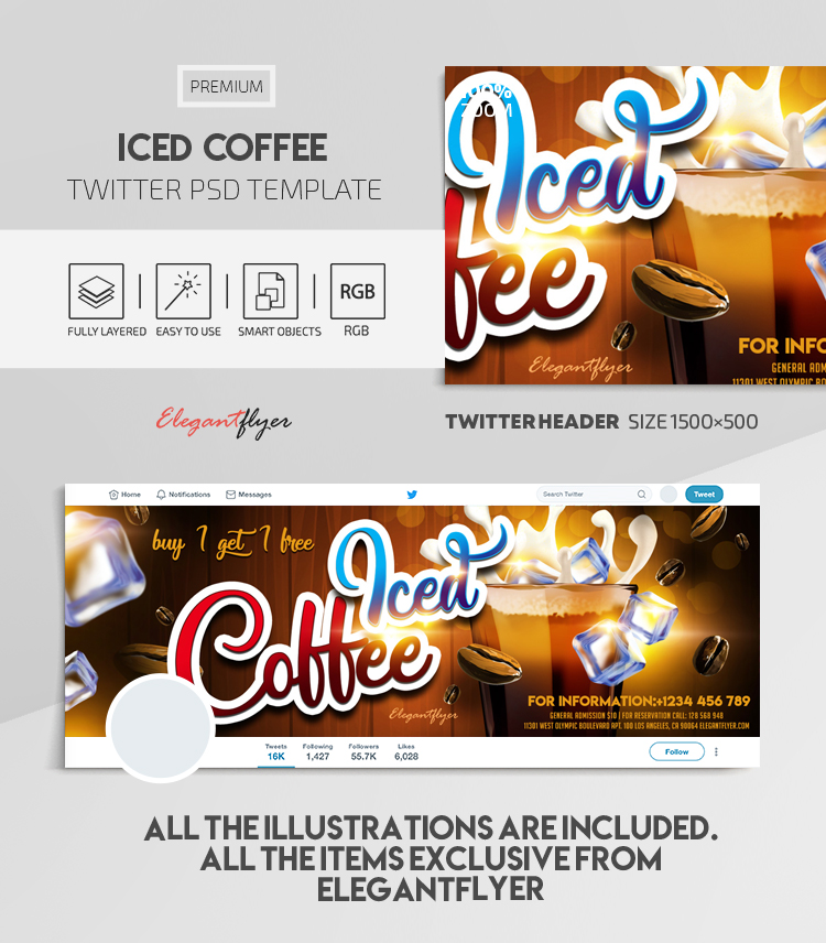 Iced Coffee – Twitter Header PSD Template