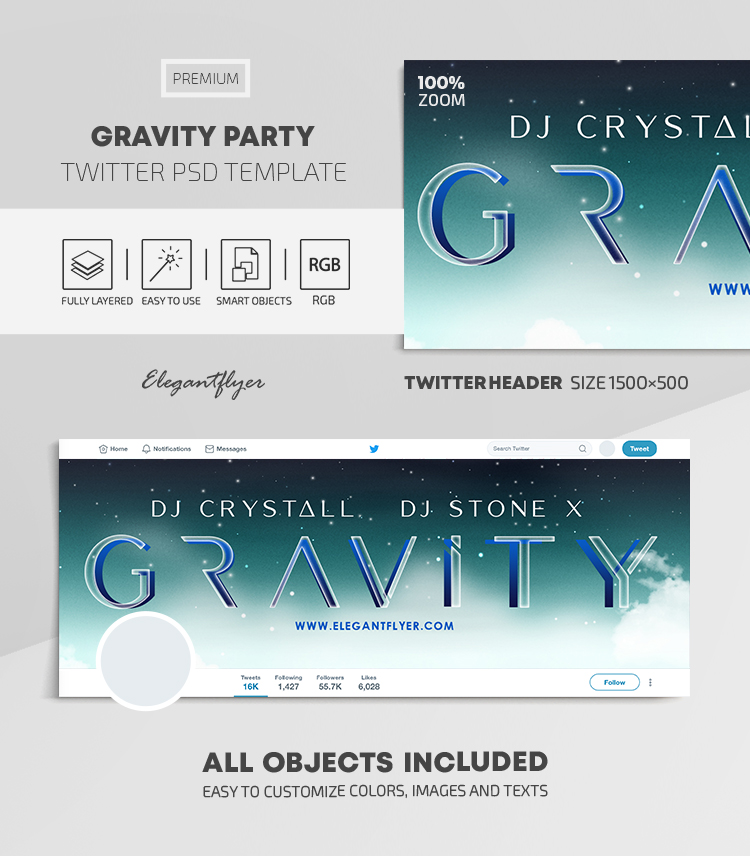 Gravity Party  – Twitter Header PSD Template