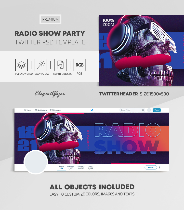 Radio Show Party – Twitter Header PSD Template