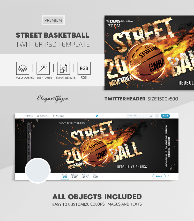 Street Basketball – Twitter Header PSD Template