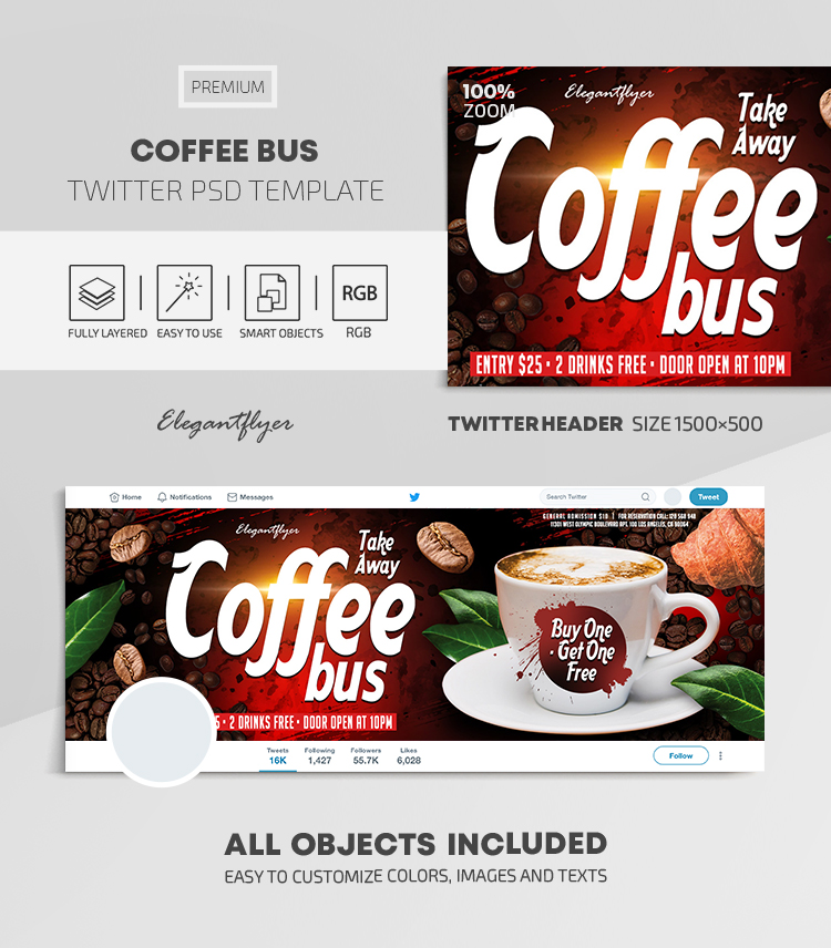 Take Away. Coffee Bus. Buy One – Get One Free – Twitter Header PSD Template