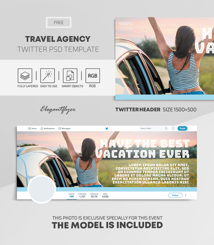 Travel Agency – Free Twitter Header PSD Template