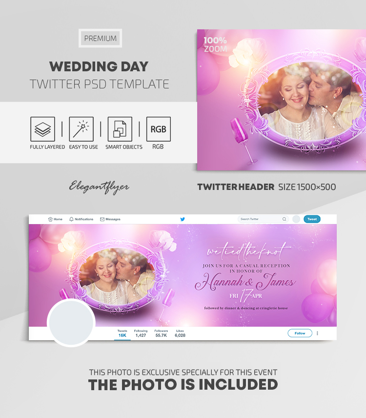 Wedding Day – Twitter Header PSD Template