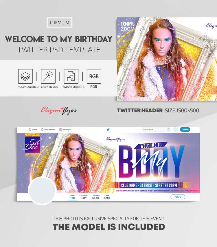 Welcome to My Birthday! – Twitter Header PSD Template