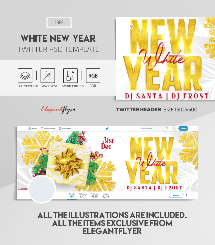 White New Year Party – Free Twitter Header PSD Template