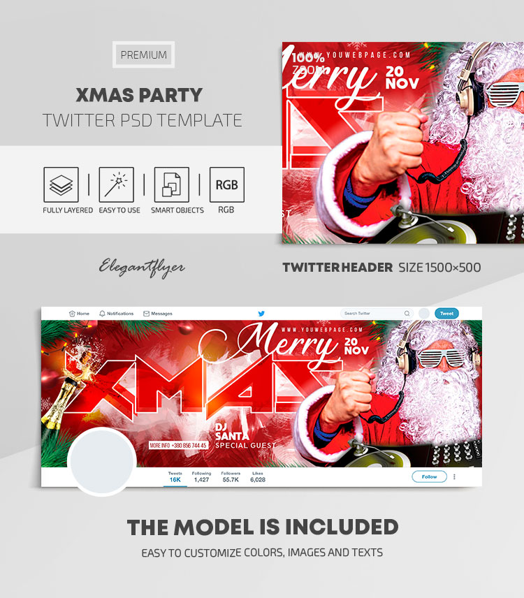 XMAS Party – Twitter Header PSD Template