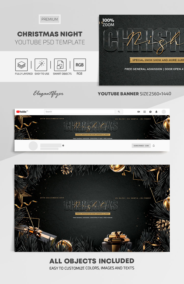 Christmas Night – Youtube Channel banner PSD Template