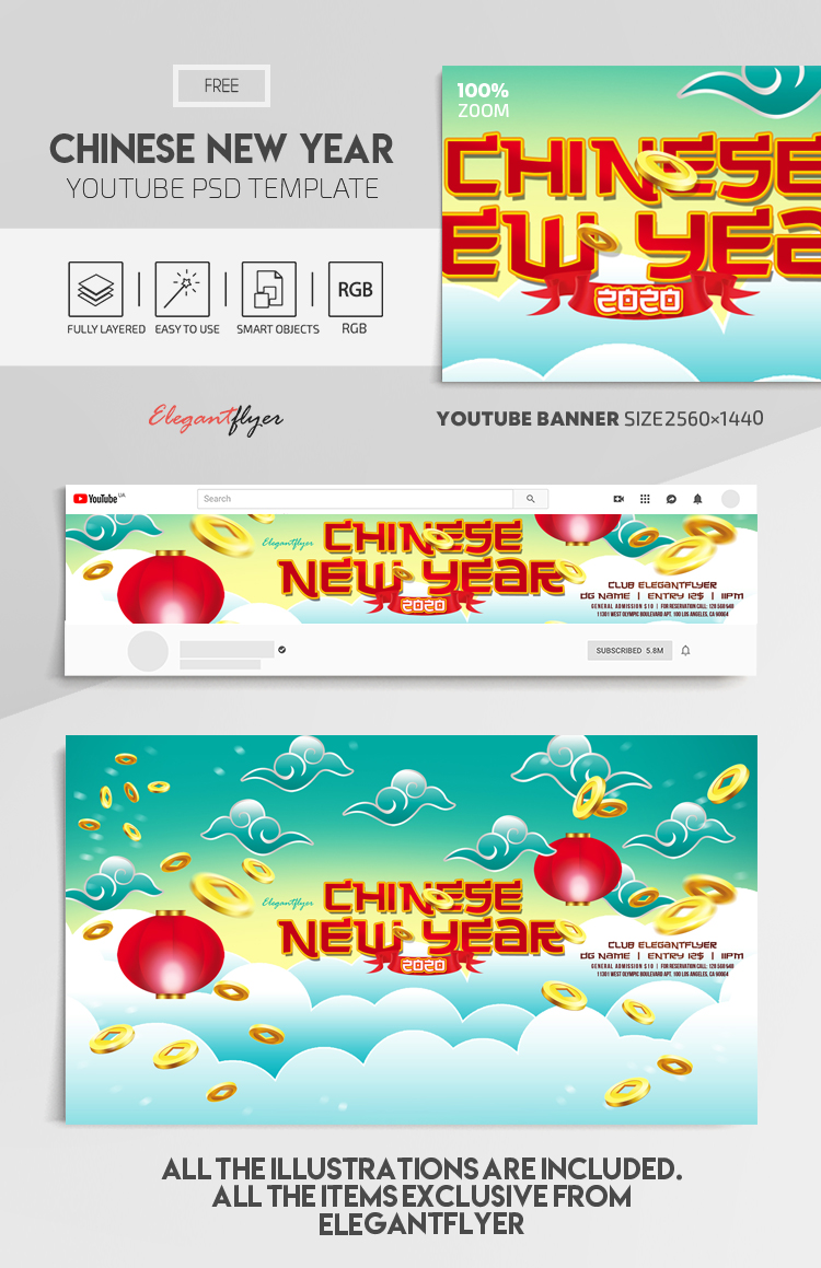 Chinese New Year 2020 – Free Youtube Channel banner PSD Template