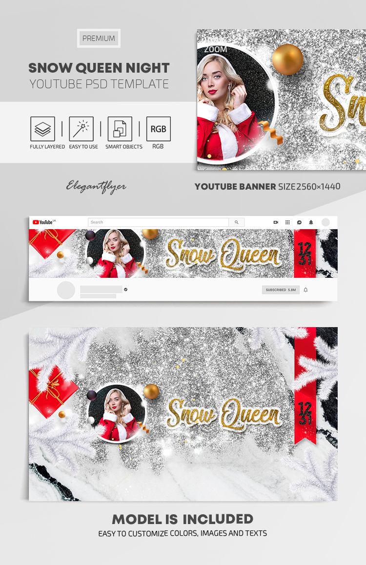Snow Queen Night – Youtube Channel banner PSD Template