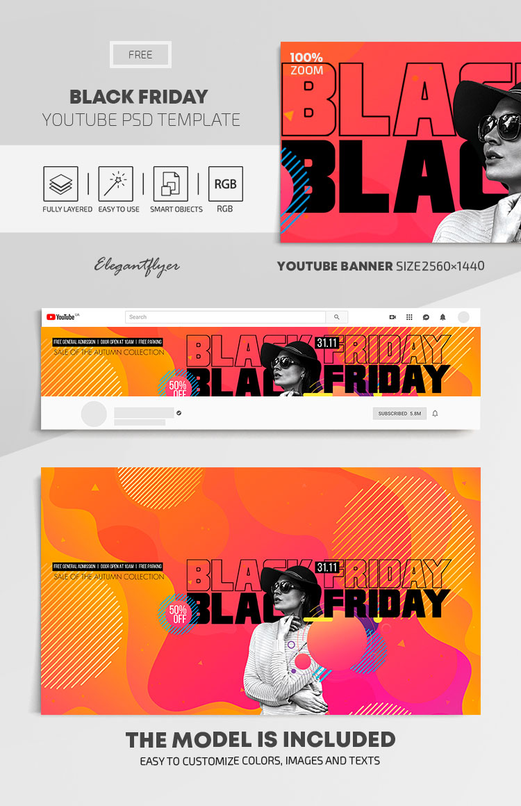 Black Friday – Free Youtube Channel banner PSD Template