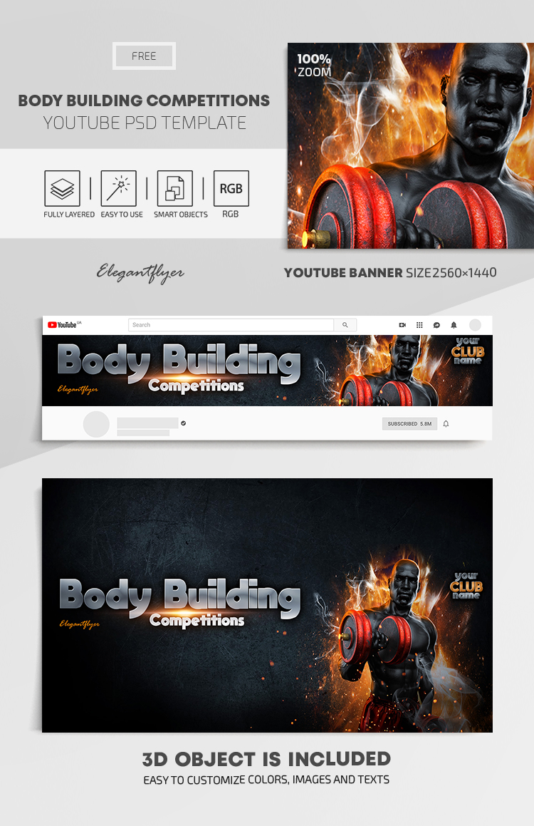 Body Building Competitions – Free Youtube Channel banner PSD Template