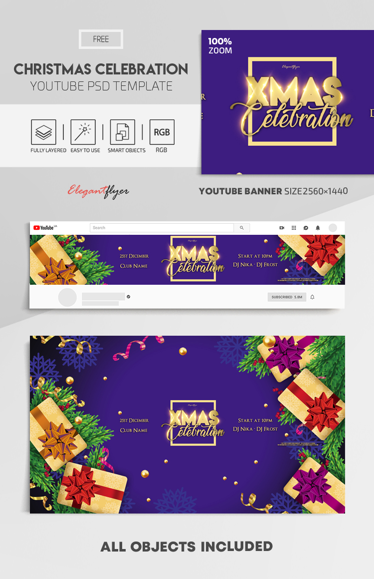 Christmas Celebration – Free Youtube Channel banner PSD Template