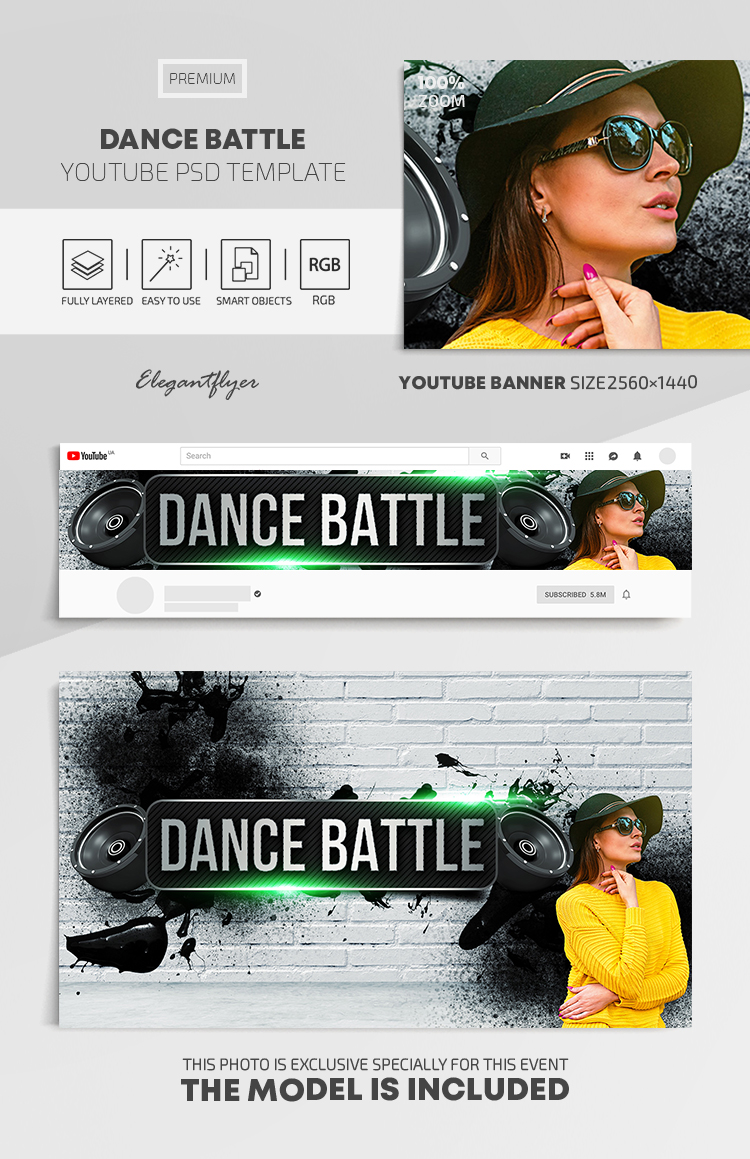 Dance Battle – Youtube Channel banner PSD Template