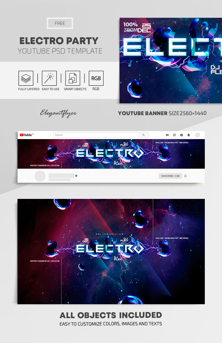 Electro Party – Free Youtube Channel banner PSD Template