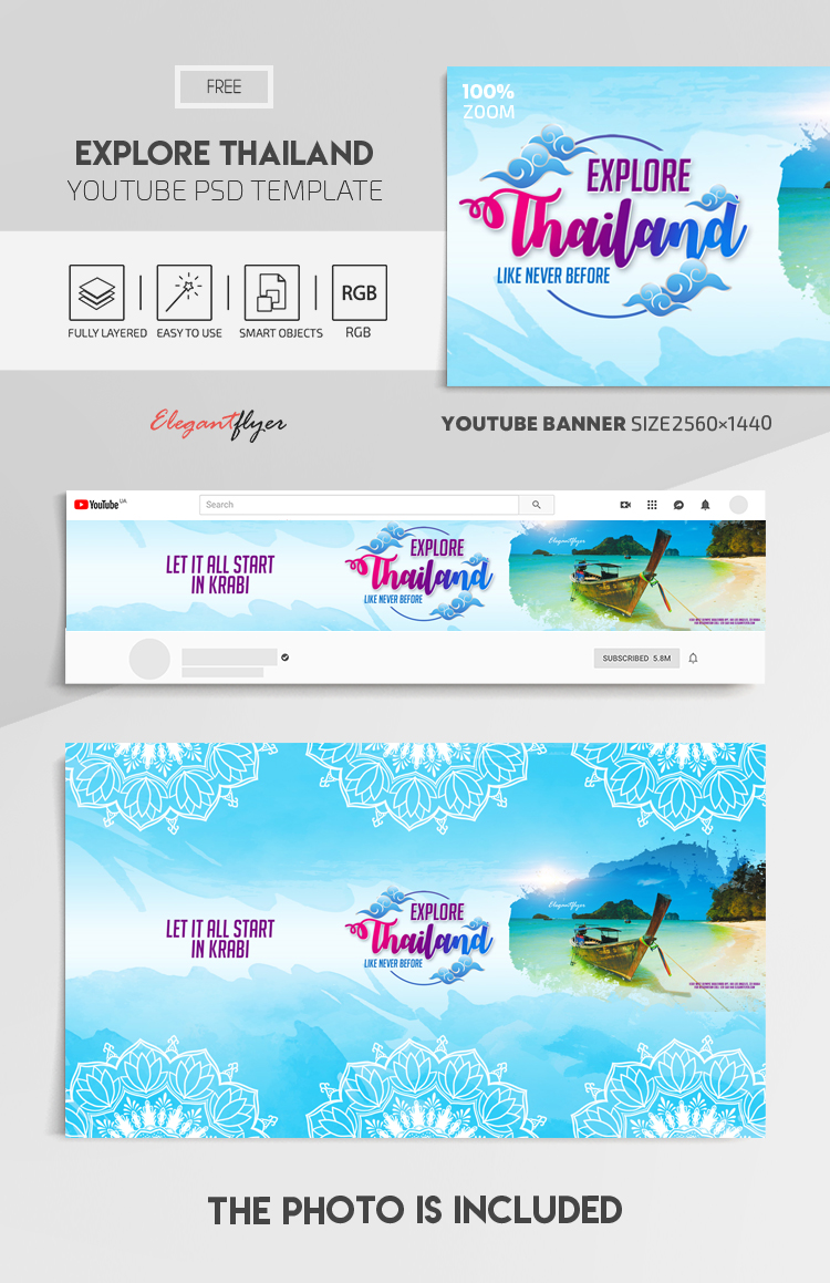 Explore Thailand. Like Never Before. Let it All Start in Krabi – Free Youtube Channel banner PSD Template