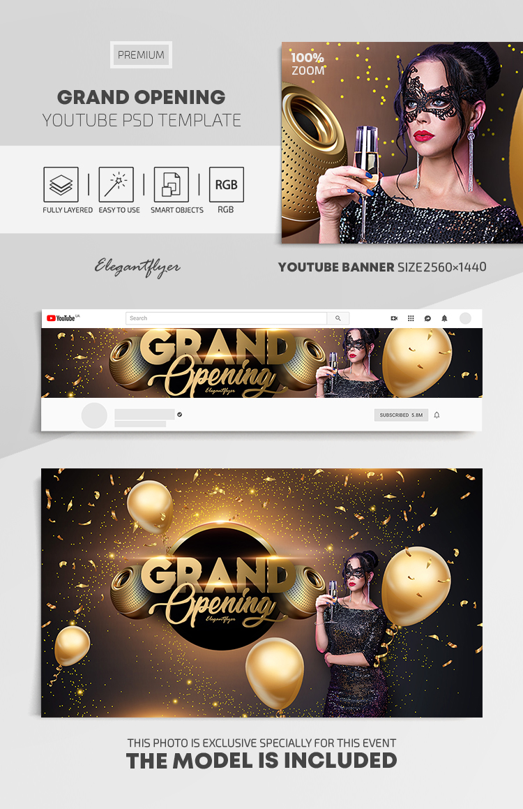 Grand Opening – Youtube Channel banner PSD Template