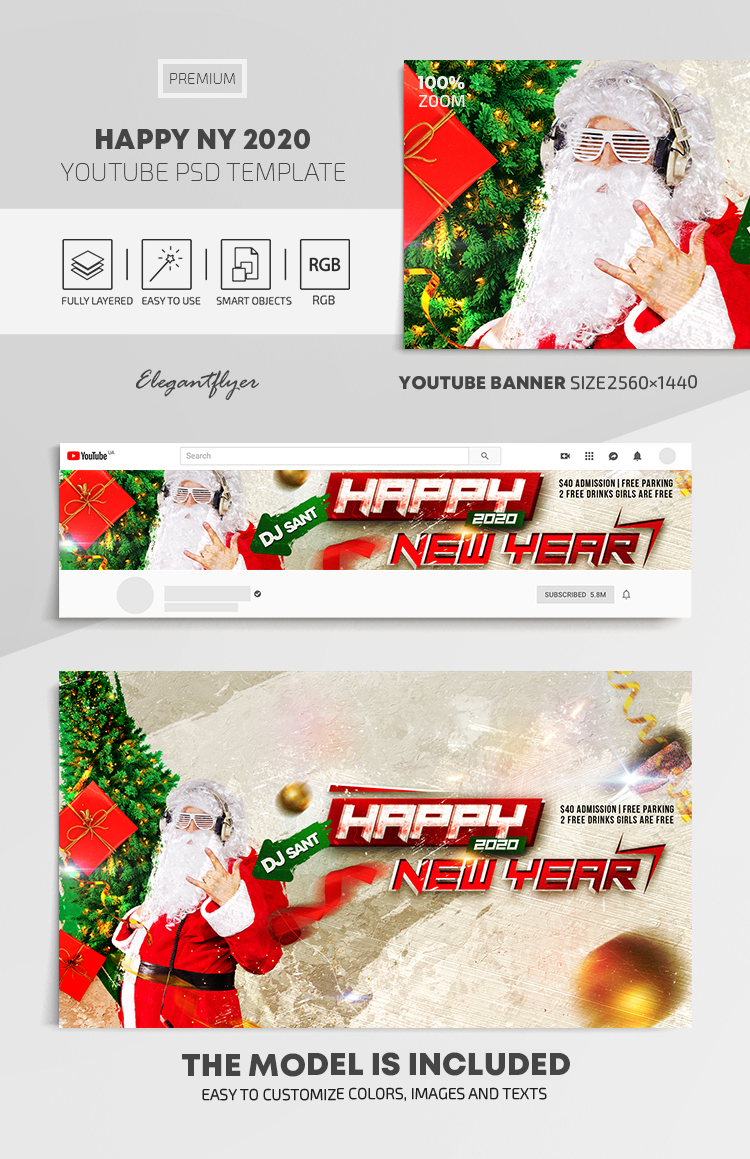 Happy New Year 2020 – Youtube Channel banner PSD Template