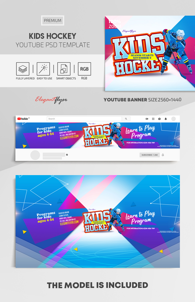 Kids Hockey – Youtube Channel banner PSD Template
