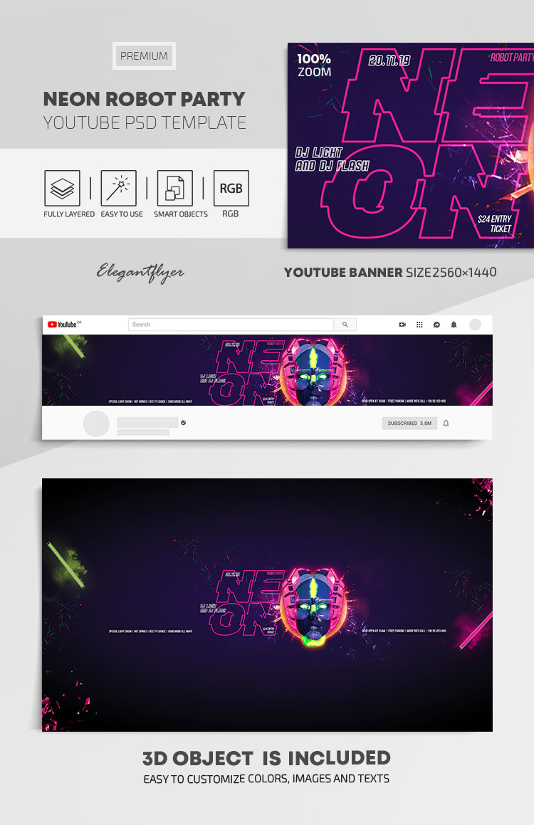 Neon Robot Party – Youtube Channel banner PSD Template