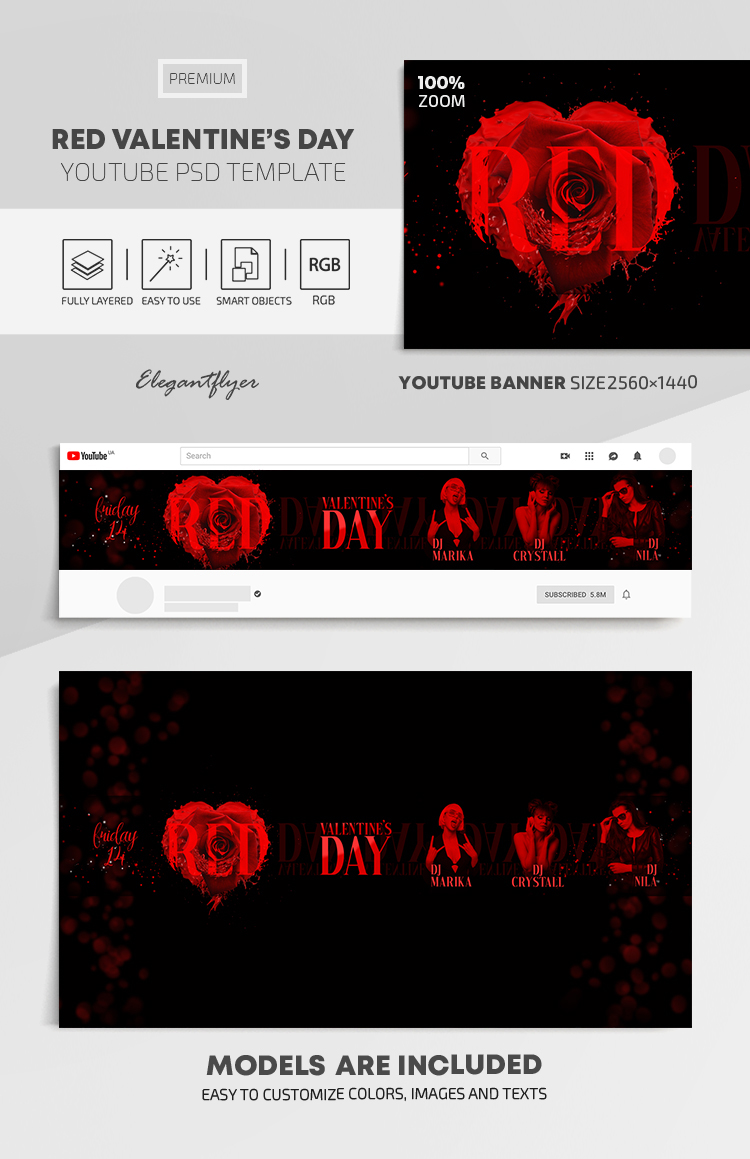 Red Valentine's Day – Youtube Channel banner PSD Template